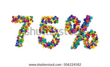 75, seventy-five percent, symbol in festive colors formed of rainbow colored balls over a white background for promotional advertising