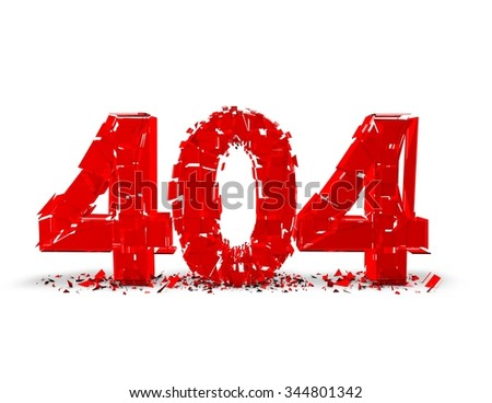 404 shattered text alert. - stock photo