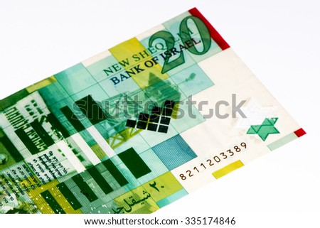 20 shekels bank note of Israel. New shekels is the national currency of Israel