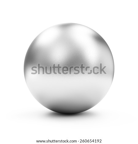 Shiny Big Silver Sphere or Button isolated on white background - stock photo