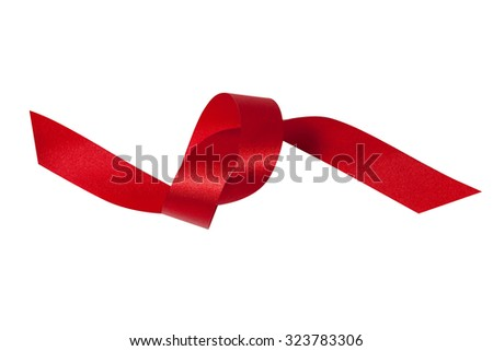 Shiny red ribbon on white background with clipping path