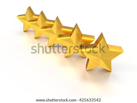5 shiny stars gold. 3D illustration. icons for ranking websites. Isolated on white background.