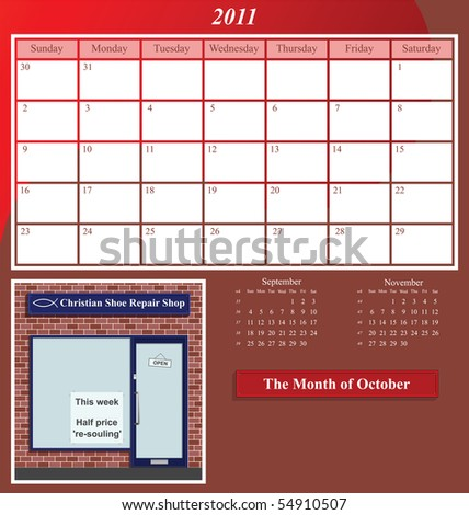 2011 Shop series calendar for the month of October