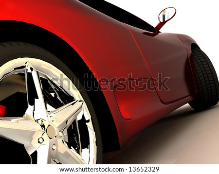 shot  of a  red sports tuning car - stock photo