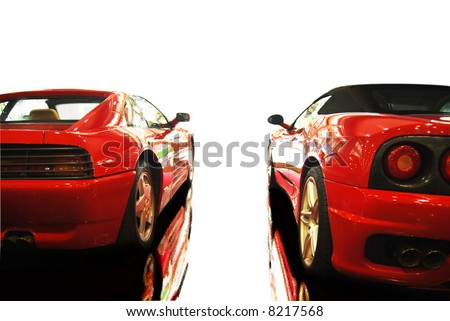 shot  of a two red sports cars (ferrari) - stock photo