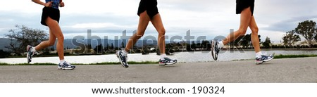 3 shots of woman's feet jogging along a river in the morning - stock photo