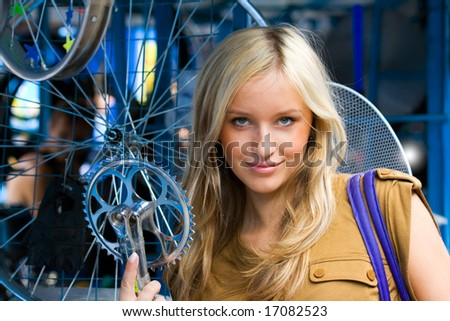 shows a young girl cycling details - stock photo