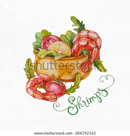 Shrimp Salad with mixed greens and tomatoes. Shrimps. Watercolor illustration on white background. - stock photo