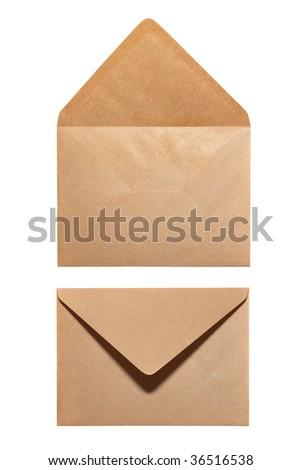 2 sides of envelope isolated on white background - stock photo