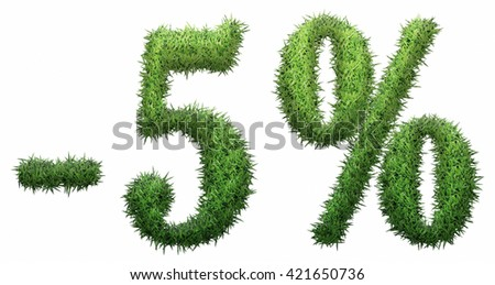 -5% sign, made of grass. Isolated on a white background. 3D illustration