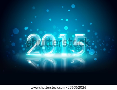 2015 sign on a blue crystal background