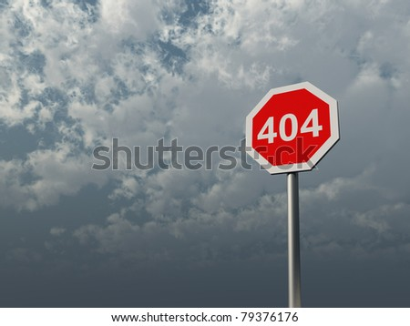 404 sign under cloudy  sky - 3d illustration - stock photo