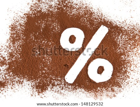 % sign written with cocoa powder - stock photo