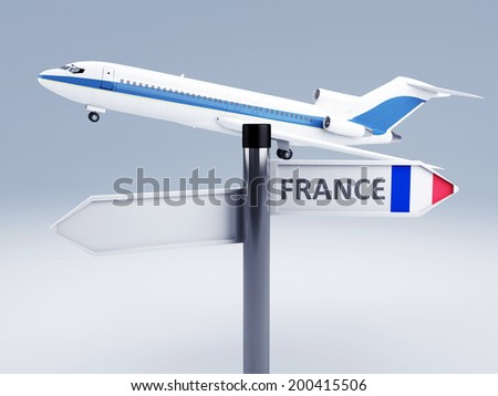 signpost. travel to france, europe. vacation concept 3d - stock photo