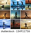 silhouette  healthy woman and  man run during sunrise - stock photo