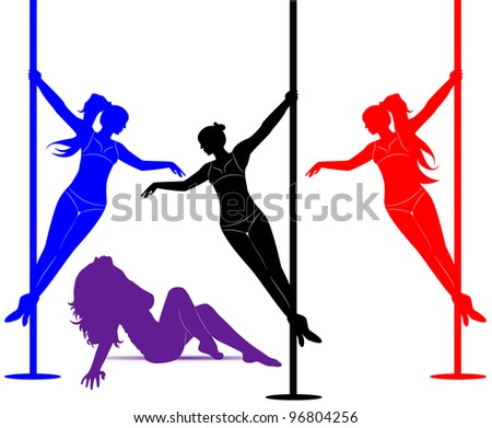 silhouette of a sexy girl dancing on a pole - stock photo