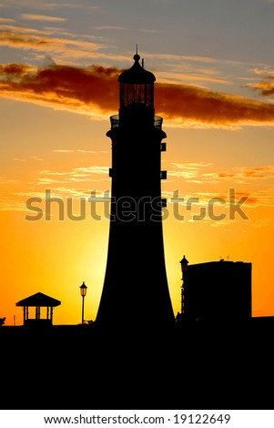 silhouette of the lighthouse, Plymouth, UK - stock photo