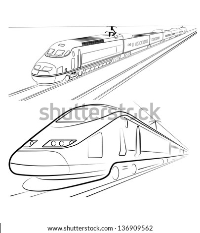 silhouette of the train is presented - stock photo
