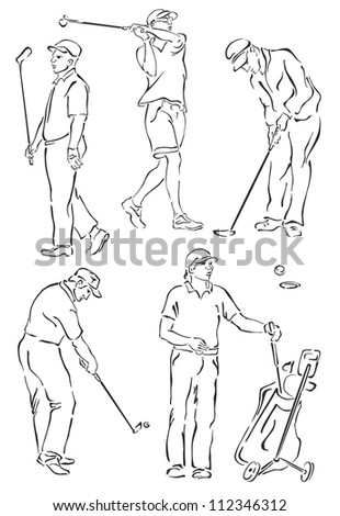"""silhouettes of golfers on a white background"" - stock photo"