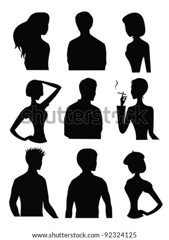 9 Silhouettes of men and women - stock photo