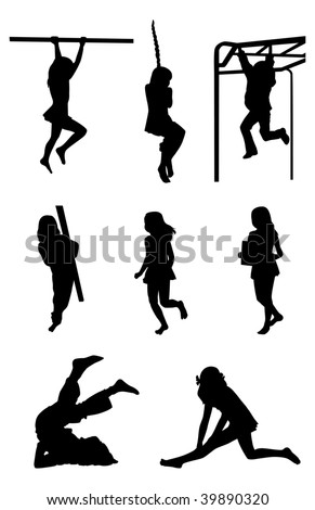 8 silhouettes of sport girls