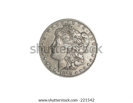 1879 Silver Dollar on white background - stock photo