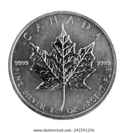 5 silver dollars Canada - stock photo