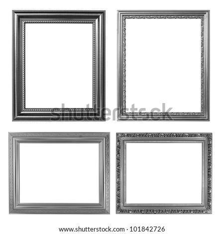 4 silver frame on white background - stock photo