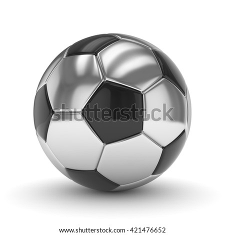 Silver soccer ball on white background. 3D rendering. - stock photo
