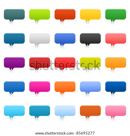 25 simple speech bubble icon web 2.0 buttons. Colored rounded rectangle shapes with shadow and reflection on white. Bitmap copy my vector ID:  66593005 - stock photo