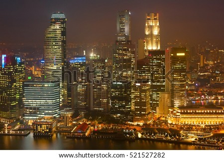 Singapore Downtown Core business architecture at night