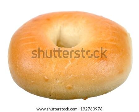 single bagel isolated on white  - stock photo
