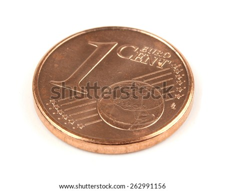 Single one euro cent coin isolated on white background - stock photo