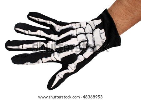 skeleton hand black and white.