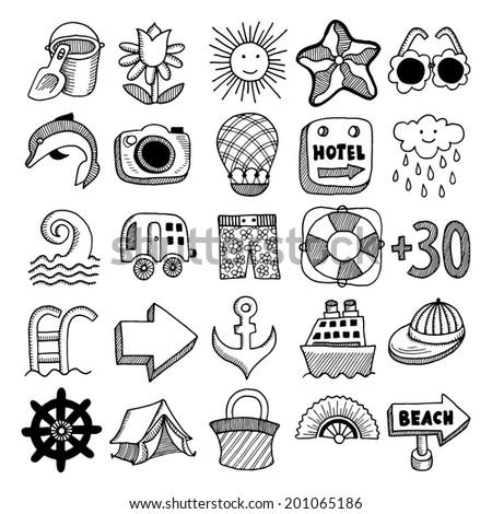 25 sketch icon set of summer theme, raster version - stock photo