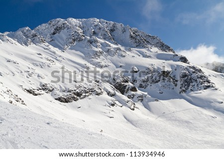 Skiing Blackcomb Peak in the winter month - stock photo