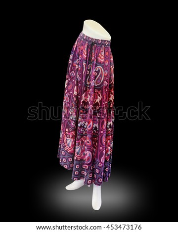 Skirt with plastic shapes isolated on black background. This has clipping path.