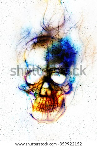 Skull and fractal effect. Color abstract background, computer collage. - stock photo