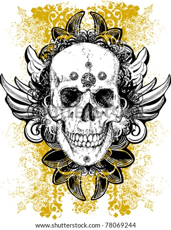 skull emblem with yellow ornament