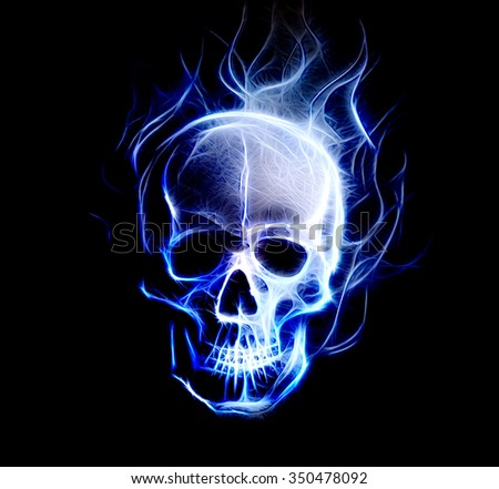 Skull. glass and fractal effect. Black  background, computer collage - stock photo