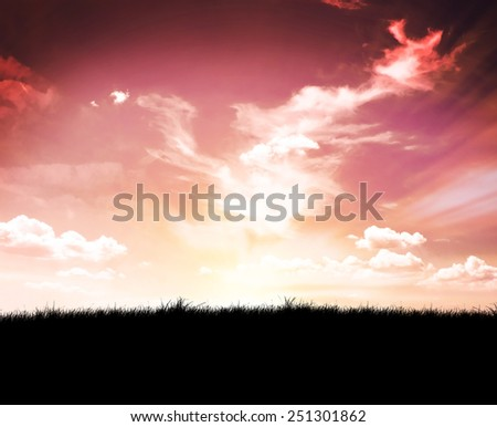 sky and black field of grass at night  - stock photo