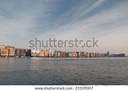 'skyline' Java-island in Amsterdam - stock photo