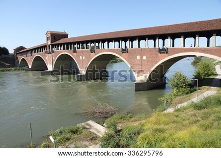 "Skyline of Pavia, with ""Ponte Coperto"" over the river Ticino Italy"