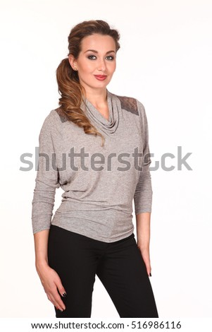 slavic business executive woman with loose hair style in official formal gray clothes - blouse and black trousers close up photo isolated on white