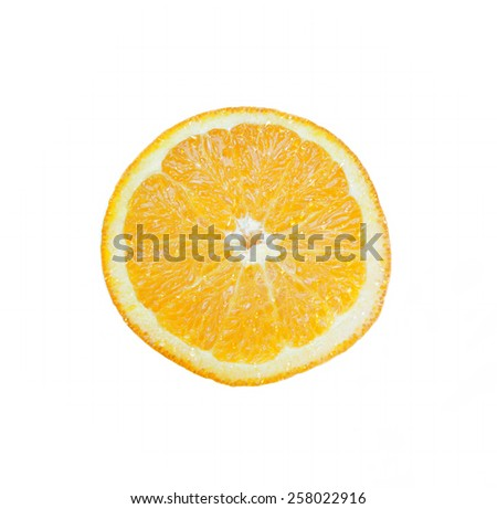 Sliced Orange with juicy drops on white background - stock photo