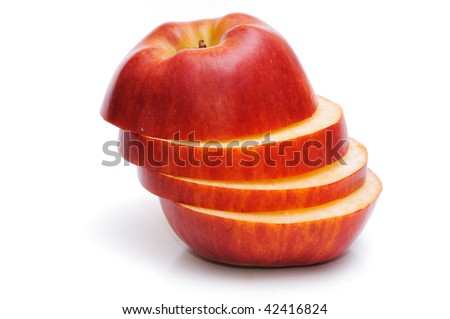 Slices red apples