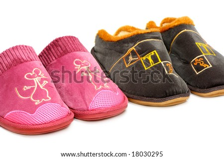 slippers isolated on a white background - stock photo