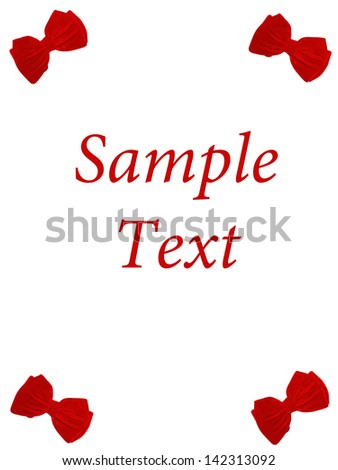 4 small bow ties card text - stock photo