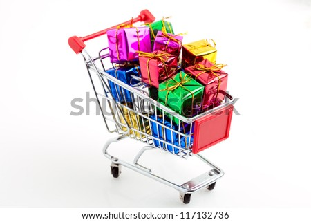 small cart with gifts
