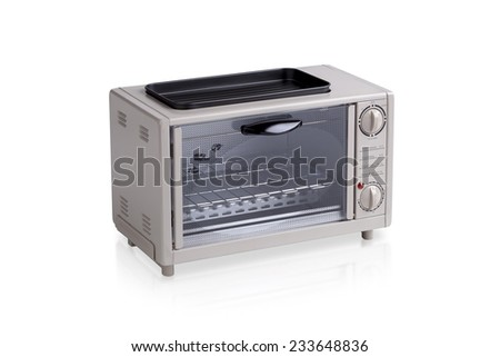 small electric oven isolated on white background